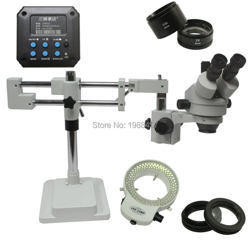 3.5X-90X Double Arm Boom Stand Trinocular Stereo Zoom Microscope With 20MP HDMI USB Camera 144 LED Lights Mobile CPU Repair