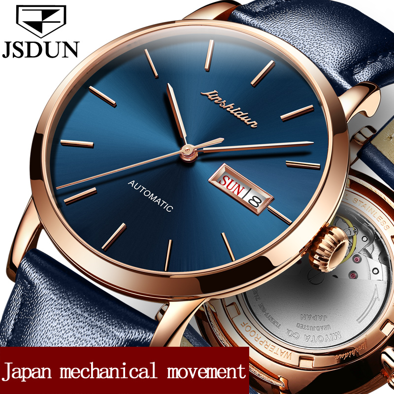 JSDUN Fashion Waterproof Automatic Watches for Male Leather Strap Luxury Gold Case Date Week Business Men Mechanical Watch Clock forsining date display automatic mechanical watch men business leather band watches modern gift dress classic analog clock box