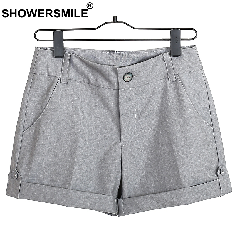 SHOWERSMILE Gray   Shorts   Women Summer Trousers Office Lady Cotton   Shorts   With Pockets Hemming Breathable Casual   Shorts
