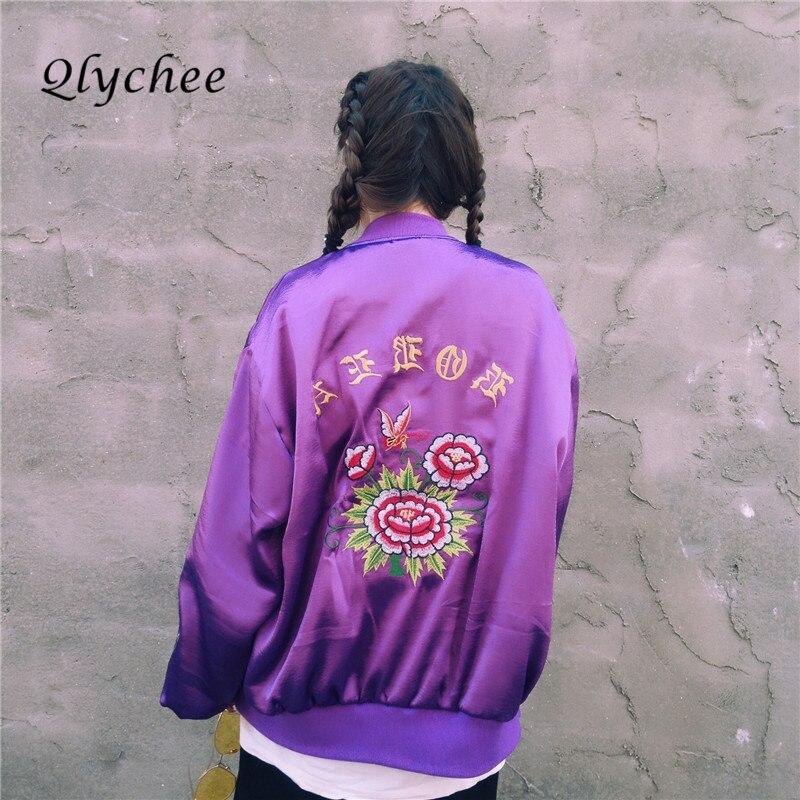 Qlychee Fashion Women   Basic   Coat Rashguard Applique Floral Embroidery Zipper Satin Baseball   Jacket   Outerwear   Basic     Jackets