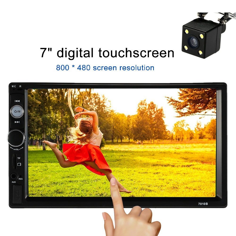 2 Din Car Radio MP5 Player Universal 7 inch HD BT USB/TF FM Aux Input Multimedia Radio Entertainment with Rear View Camera 7 hd 2din car stereo bluetooth mp5 player gps navigation support tf usb aux fm radio rearview camera fm radio usb tf aux