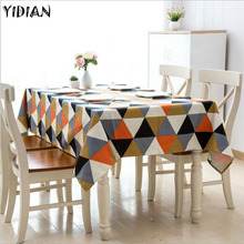Mediterranean Triangle Pattern Table Cloth Cotton Christmas Cloth Summer Fresh Wedding Home Table Decoration