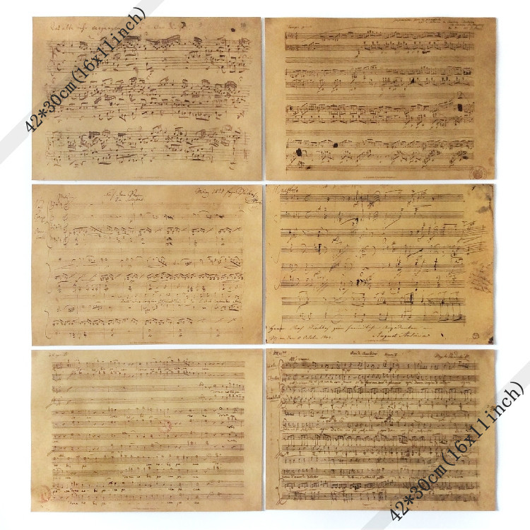 World famous musician manuscripts old music score Vintage Style Retro Paper Poster Good  ...