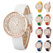 1pc 2017 new fashion women ladies Crystal watch wrist clocks hour Full Diamond Bling quartz Wristwatches Leather Strap gift H3