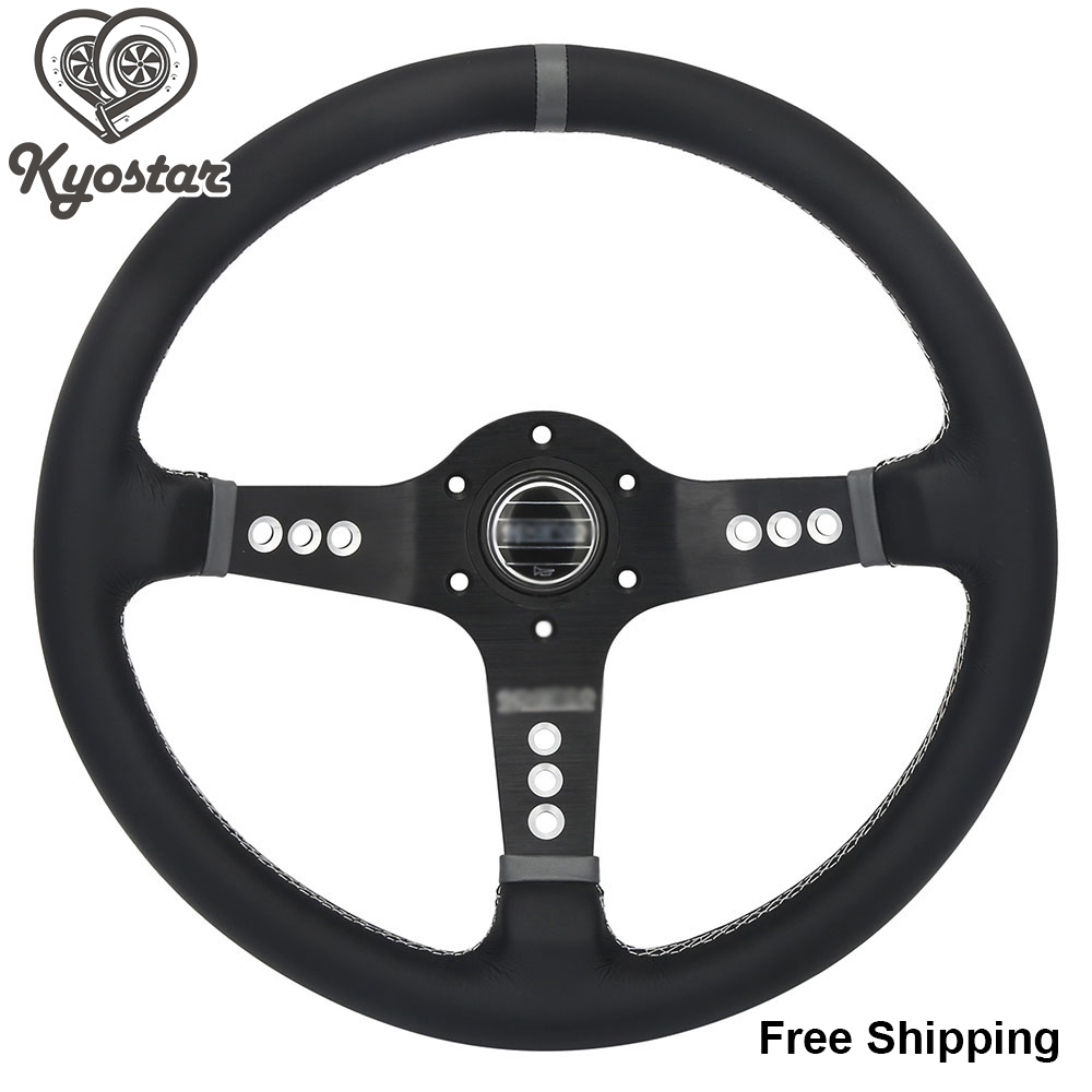 350mm Deep Corn Steering Wheel With Black Spoke 14 inch Real Leather Car Race Steering Wheel