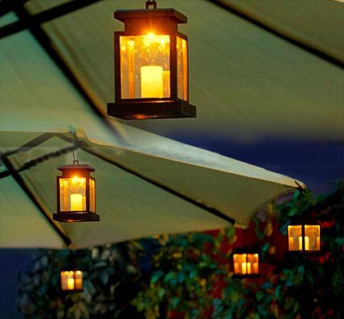 Home House Outdoor Candle Lantern Solar Powered Landscape Umbrella Tree Lantern Lamp LED ...