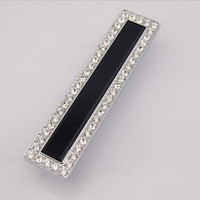 128mm Fashion Deluxe Glass Diamond Modern Furniture Handles Black Glass Drawer Cabinet Pull 5 Silver Chrome
