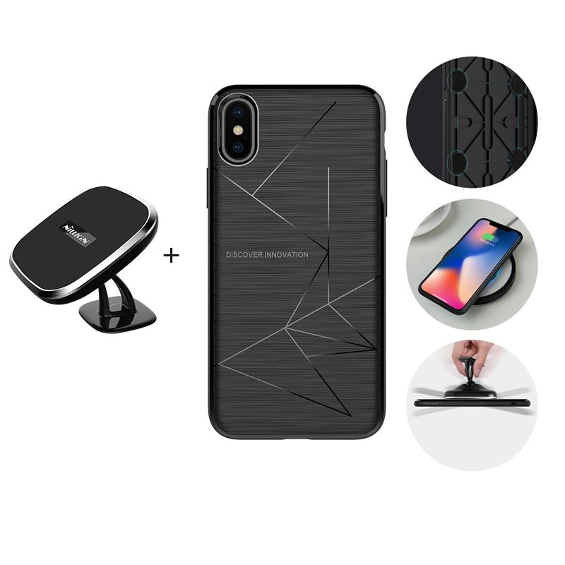 Для iPhone X 8 8 плюс Чехол NILLKIN регистрации автомобиля Qi Беспроводной зарядный коврик + Магнитная чехол для приемника беспроводного зарядного у...