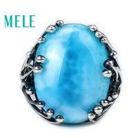 Натуральный Ларимар 925 Серебряное кольцо с овальным вырезом 15X20 мм синий камень как для женщин, так и для человек моды дизайн драгоценный кам...