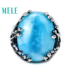 Natural Larimar Silver-Ring Fine-Jewelry Blue-Stone Women 925 Oval with Big Cut 15x20mm