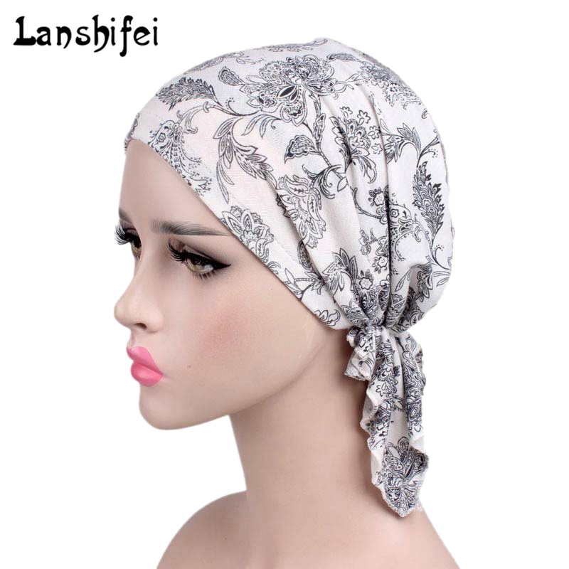 2018 New Women Floral Turban Hat India Cap Hairnet Muslims Chemo Cap Flower Fold Beanies Chemotherapy Bonnet Hat for Ladies