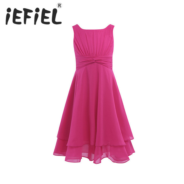 iEFiEL Girls Chiffon Knotted Waist and Ruched Flower Girl Dress Princess Pageant Wedding Bridesmaid Birthday Party Summer Dress