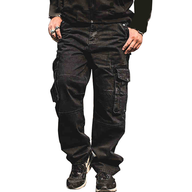 MORUANCLE Men Casual Cargo   Jeans   Pants With Multi Pockets Loose Fit Hip Hop Denim Trousers For Male Baggy   Jeans   Plus Size 30-46
