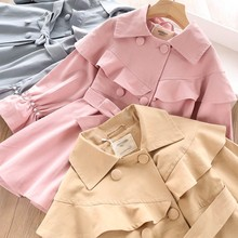 trench coat girl outerwear autumn kids jacket Pearl korean sold ruffles fashion pink boutiques clothes children