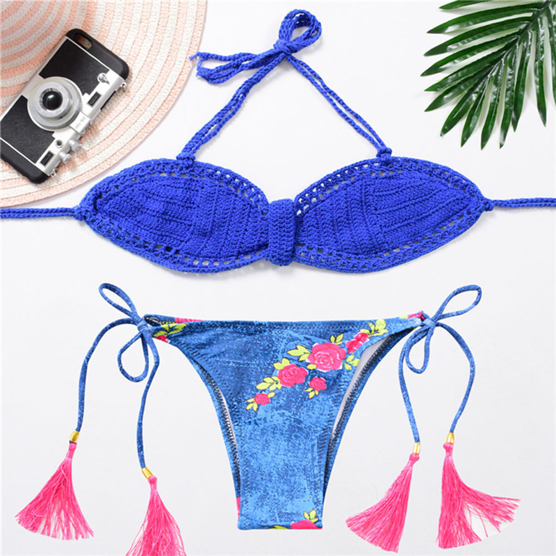 Women Print Knitting Tassel Bikini Swimsuit Bikini Beachwear Swimwear Bathingsuit Z0530