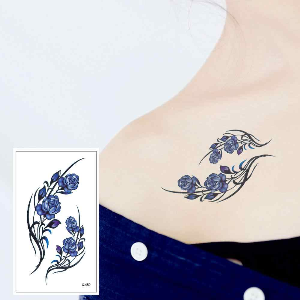 X-450 Elegant Blue Flowers Arm Chest Shoulder High Quality Temporary Tattoo Sticker Detachable Waterproof Men's and Women