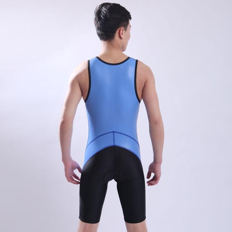 PU Fabric Ironman Triathlon Padded Tri Suit Bike Bicycle Cycling Sports Clothing One Piece Sleeveless Summer