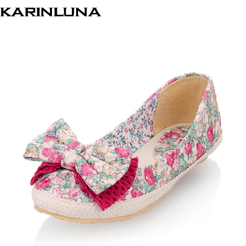 KARINLUNA Spring Autumn Plus Size 30-44 Sweet Colorful Embroider Bow Ballet Flats Woman Comfortable Shallow Slip-On Women Shoes colorful румяна 05 sweet on you