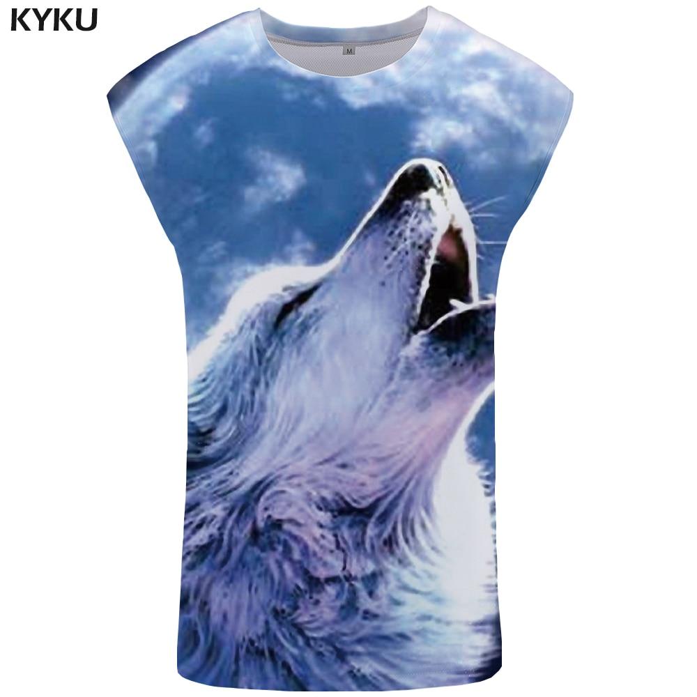 KYKU Wolf   Tank     Top   Men Sky Mens Bodybuilding Trend Stringer Animal Singlet Vest Ftness Clothing Sleeveless Shirt Man Hip Hop