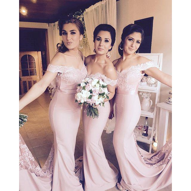 4984731acc84 Blush Pink Cheap Bridesmaid Dresses 2016 Off the Shoulder Cap Sleeve Lace  Maid of Honor Mermaid Formal Wedding Party Gowns-in Bridesmaid Dresses from  ...