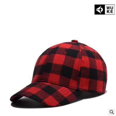 Prix pour WuKe 2017 nouveau coton et rouge grille cap homme han édition printemps en plein air l'été chapeau commerce extérieur casquette de baseball