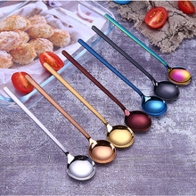 304 Stainless Steel Coffee Scoops Beautiful Tea Spoons Dessert Golden Black Coffeeware Colorful Ice Spoon Kitchen Accessories