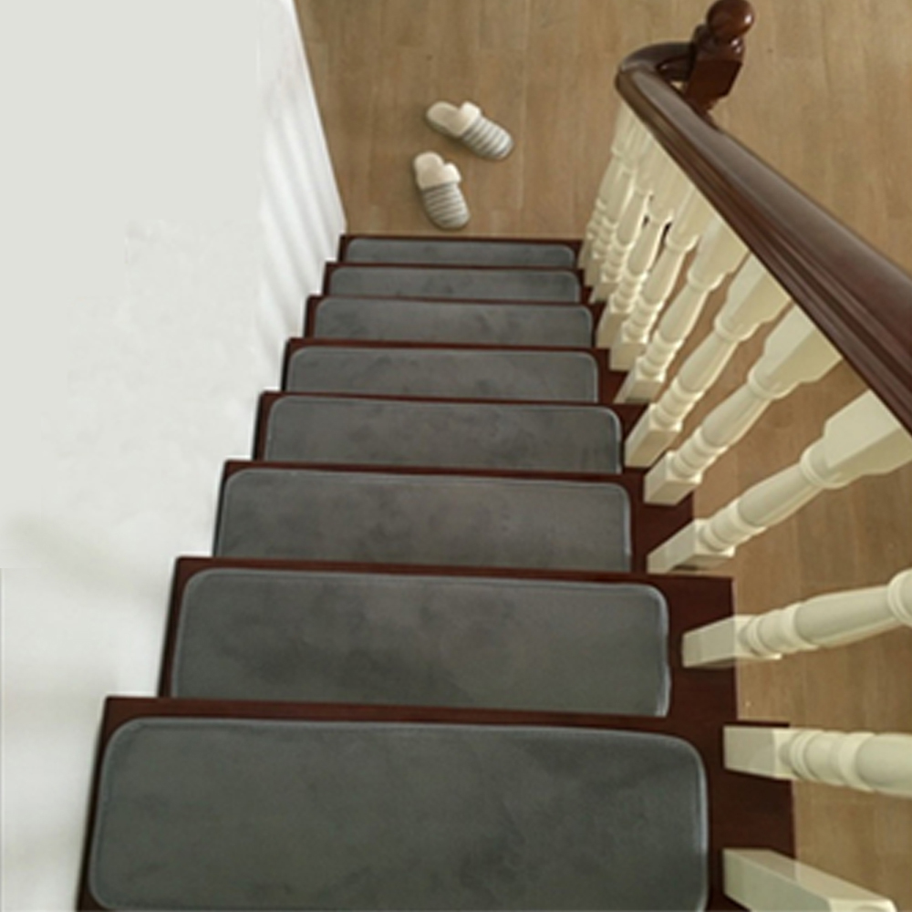 13Pcs/set Stair Treads Rectangle Non-slip Rugs Stair Mats Pure Color Style Pads Carpet