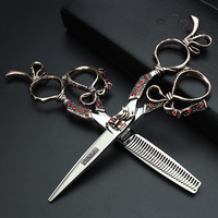 SHAORNDS High Quality Salon 6.0 inch Japan Professional Hairdressing salon Scissors Hair Cutting Thinning Scissors Set