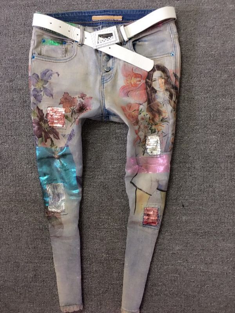 Denim De Lápiz Primavera 3d Jeans Belleza Pintura Moda Largos Mujer Azul Otoño Señoras Pantalones Flores Flaco Oro Europa 2018 PvqAca