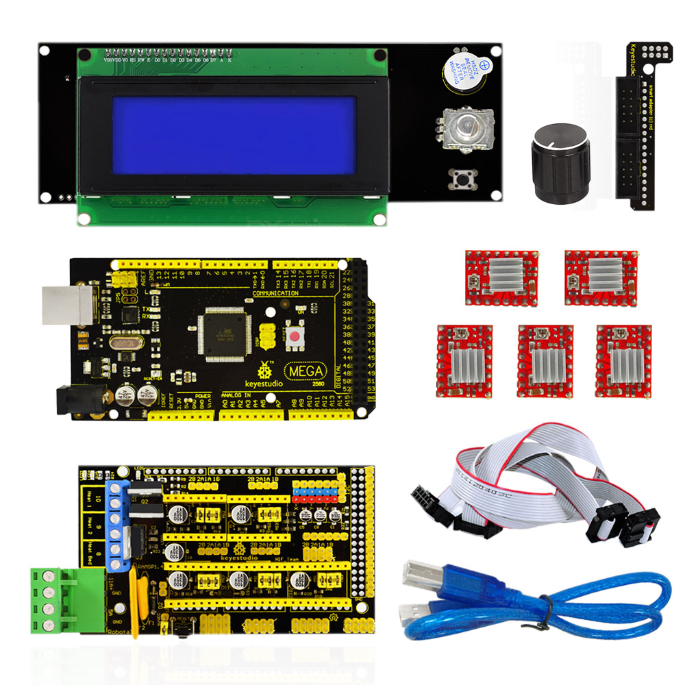 Keyestudio 3 D Printer Kit RAMPS 1.4 + Mega 2560 + 5x A4988 motor driver + LCD 2004 Cotroller For Arduino Project-in Integrated Circuits from Electronic Components & Supplies    1