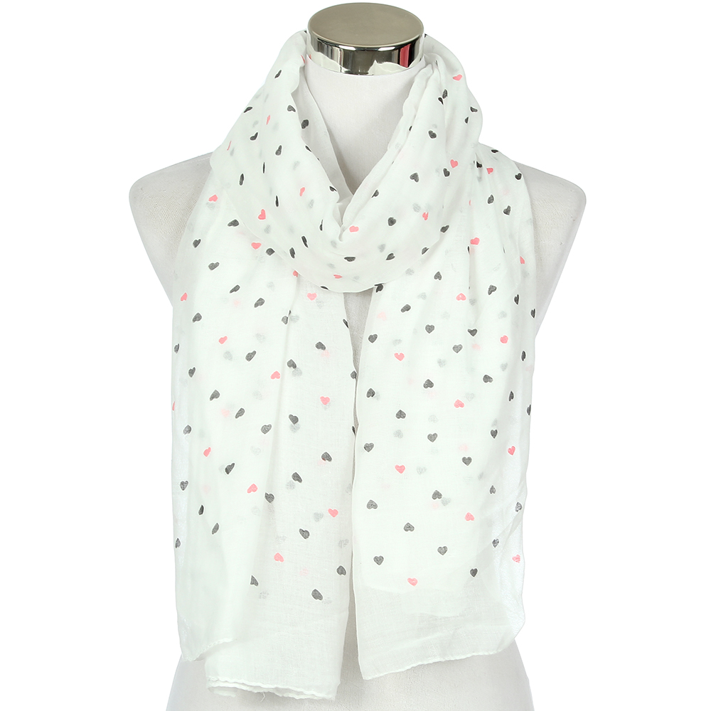FOXMOTHER New Fashion Women Ladies Kids White Sky Blue Love Heart   Scarfs   Summer Shawl   Wrap   Valentine Gifts