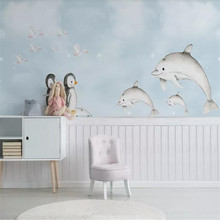 Custom wallpaper mural Nordic minimalist hand-painted Mediterranean whale penguin childrens room wall