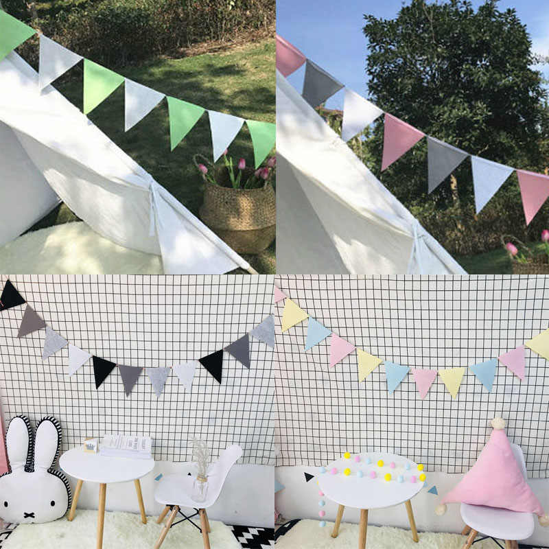 Hot 1Pack Wedding Many Colours Bunting 2.5M Pennant kids room Birthday Party New nonwovens 12 Flags Baby Shower Bunting Decor