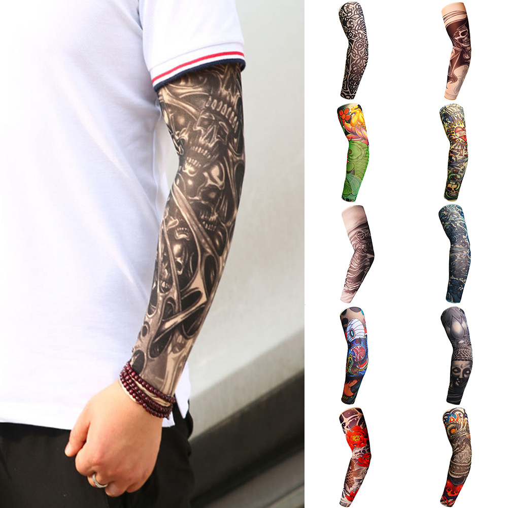 Unisex Elastic Tattoo Arm Sleeve UV Protection Cycling Outdoor Fake Slip On Creative Bike Tattoo Sleeve Cover Body Arm Warmers