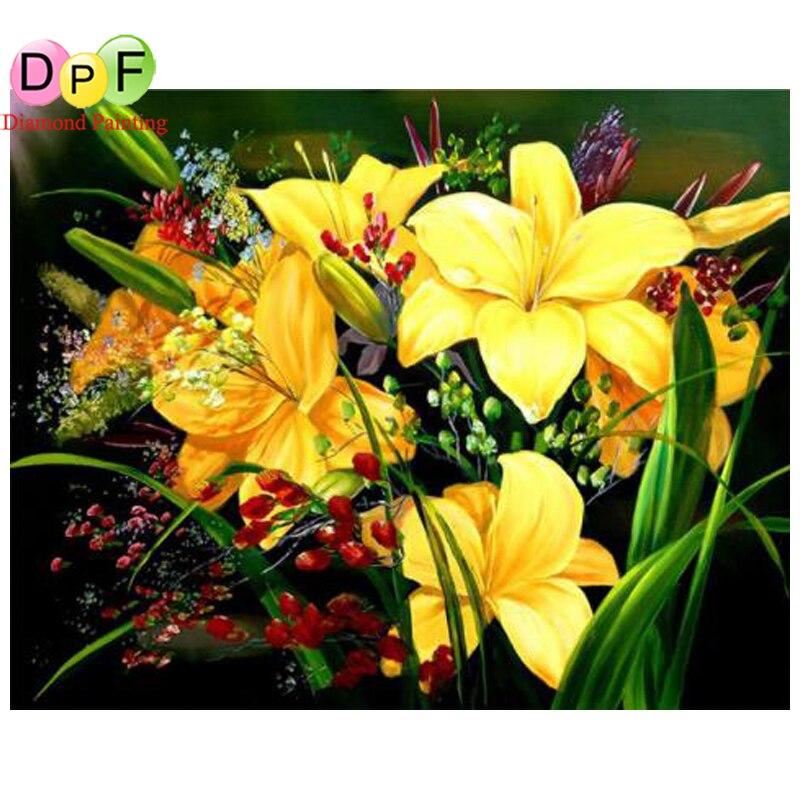 DPF Full round drill Diamond embroidery flower diamond cross stitch mosaic diy diamond painting Decorative home painting