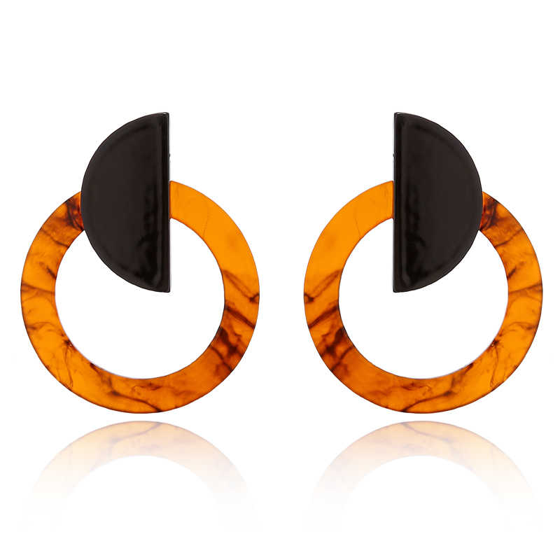 New Fashion Big Round Scrub Stitching Geometric Stud Earrings For Women Tortoiseshell Pendientes Jewelry Accessories AE186