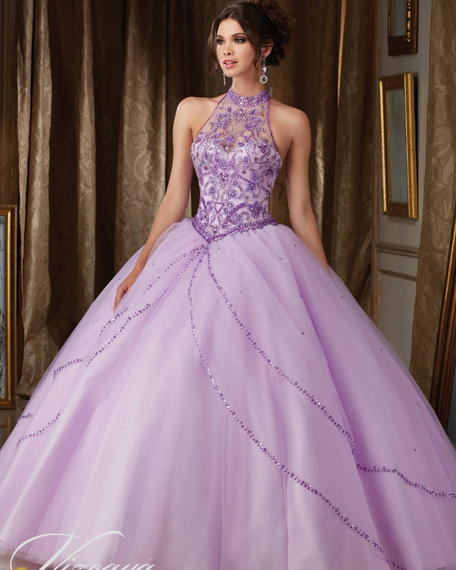Ball-Gown Quinceanera-Dresses Sequined Beaded High-Neck 15-Years Hot-Sale Luxury