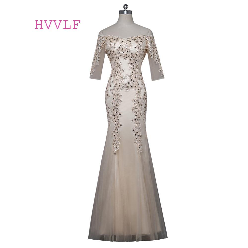 Champagne 2019 mère de la mariée robes sirène demi manches cristaux longues robes de soirée marié mère robes pour les mariages