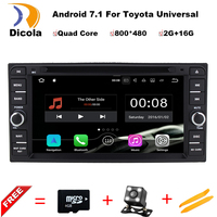 Free shipping 6.2 Android 7.11 car radio for Toyota Corolla EX Universal Fortuner Hilux car dvd player with steering wheel,GPS