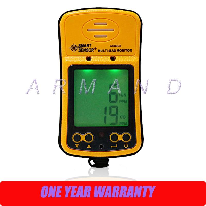 Carbon Monoxide Hydrogen Sulfide 2 in 1 Gas Monitor Detector Smart Sensor AS8903 CO H2S gas leak detection tester