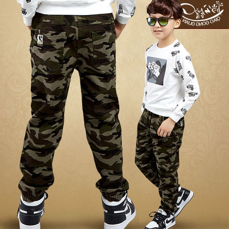 Male child camouflage pants 2018 new summer big boys casual leggings full length trousers kids spring and autumn cotton jeans new fashion slim women leggings faux denim jeans long note printing spring summer leggings casual ankle length pencil pants
