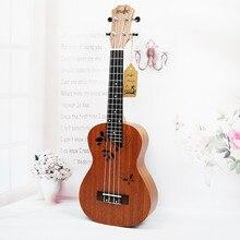 Ukulele Concert 23 inch 4 string Mahogany Hawaiian Small guitar 17 Fret Electric Ukelele Pickup EQ Butterfly love flower pattern