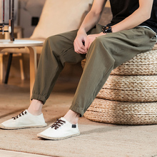 Trousers men's casual cotton linen harem pants loose hip hop large size harem pants 2019 summer men's elastic waist carrot pants grid carrot pants