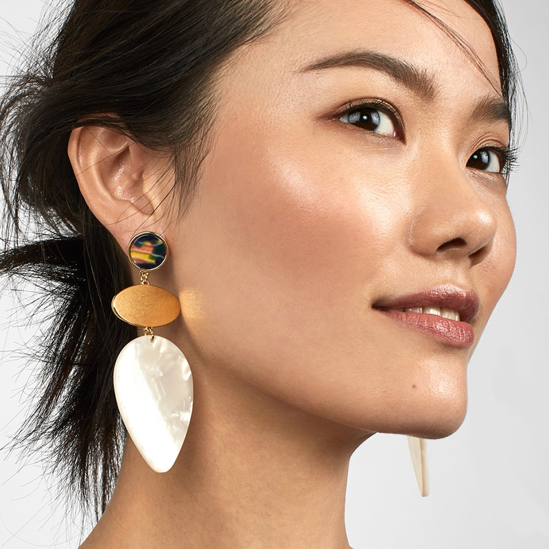 FASHIONSNOOPS 2018 Hot New Ethnic Handmade Earrings Resin Big Earring Large Long Brinco Ear Accessories Oorbellen Christmas Gift