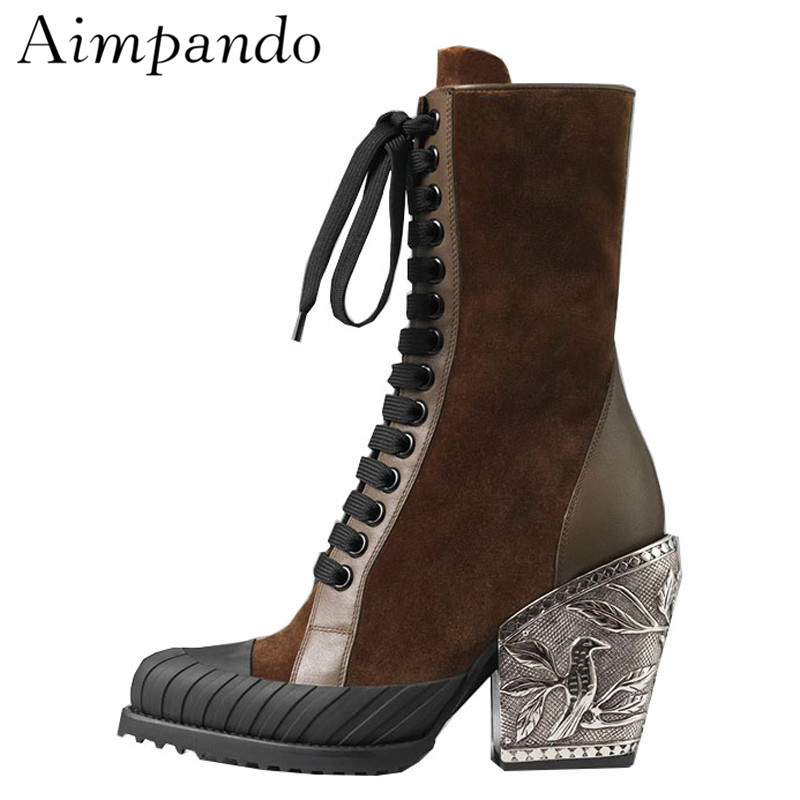 2019 Metal Carved Flower Ankle Boots Women Pointed Toe Suede Real Leather Patchwork High Heel Cross-tied Short Boots2019 Metal Carved Flower Ankle Boots Women Pointed Toe Suede Real Leather Patchwork High Heel Cross-tied Short Boots