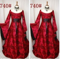 Custom Made For Your Size Medieval Style Red Flock Taffeta TudorWe Dding Gown Victorian Dress Halloween