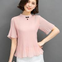 Chiffon Tops Women Summer 2017 New Elegant Stand Collar Blouse Fashion Korean Style Loose Ruffle Sleeve