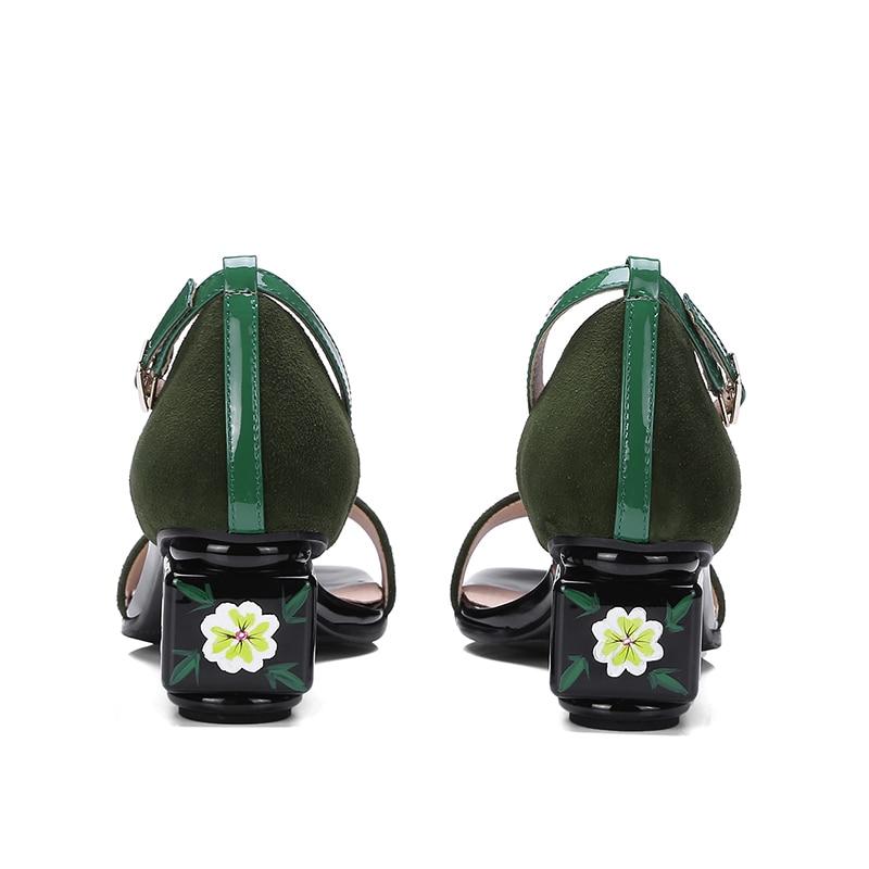 Chaussures Pour 34 Grande Doratasia D'été Noir Suede Mélange 43 Talons Kid Véritable Femme vert Cuir Femmes À De Couleur Sandales Taille En Hauts 3Aqjc4RL5