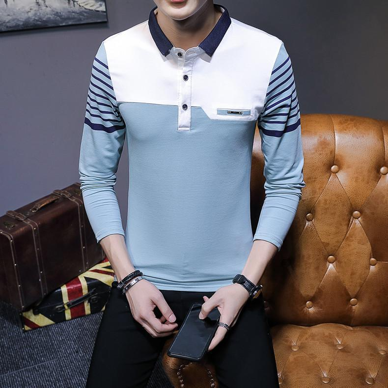 Business Casual Long Sleeve Men Polo Shirt Striped Autumn Winter Polos Cotton Slim Fit Camisa Polo Masculina 57