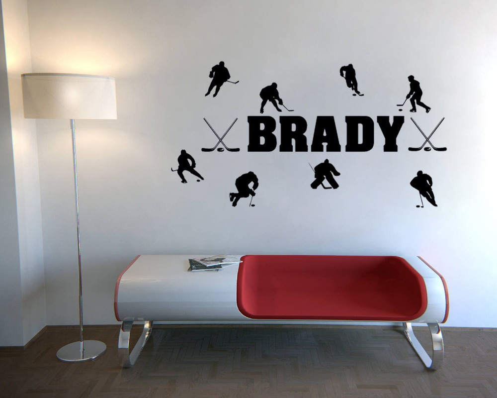 Custom Personalized Match Of Ice Hockey Wall Stickers Quotes Home Decor Vinyl Decal For Living Room In From Garden On